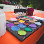 A palet of face paint, ready for the little ones!