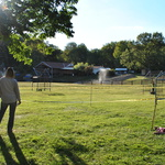 Water balloon slingshot cages: a great way to cool down on a hot day.