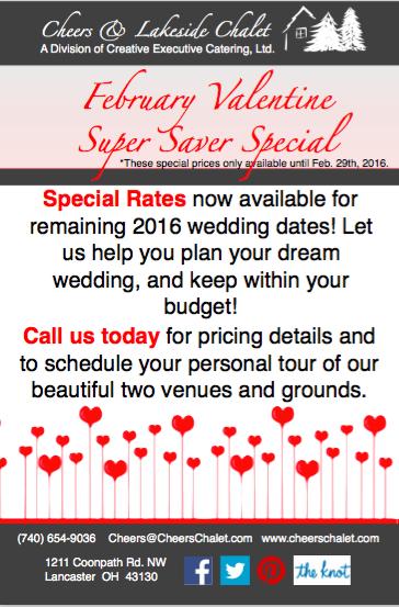 Lancaster Ohio Weddings, Wedding Specials, Booking Specials, Special Wedding Rates, Wedding Pricing Details